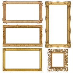 Set of panoramic golden frame for paintings, mirrors or photos