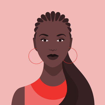 Portrait of an African girl with fashionable hairstyle. Diversity. Nations and races. Vector flat illustration