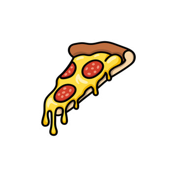 Pizza slice with melted cheese and salami or pepperoni cartoon or comics illustration with outline or contour. Fast food, isolated vector
