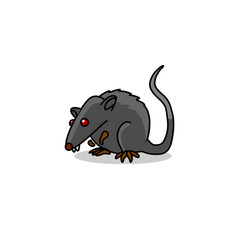 gray black mouse rat with red eyes vector pattern flat
