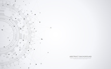 Fotobehang - Global network connection. Abstract geometric background with connecting dots and lines. Digital technology and communication concept.