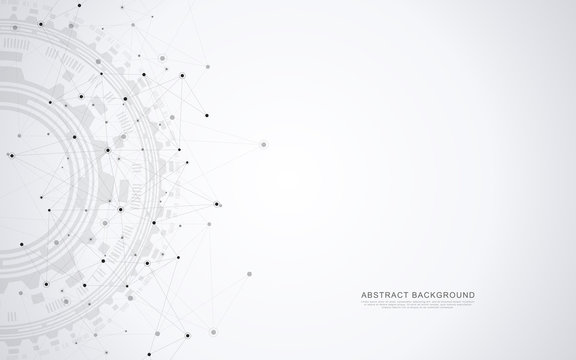 Global network connection. Abstract geometric background with connecting dots and lines. Digital technology and communication concept.
