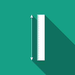 The measuring height and length icon isolated with long shadow. Ruler, straightedge, scale symbol. Flat design. Vector Illustration