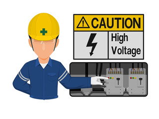 Industrial worker is presenting high voltage sign