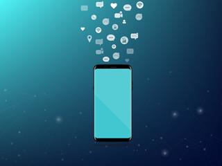 Smartphone Technology Digital Network Concept  Dark Blue Background Vector