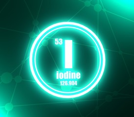 Iodine chemical element. Sign with atomic number and atomic weight. Chemical element of periodic table. Molecule and communication background. Connected lines with dots. 3D rendering