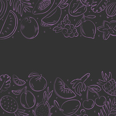 Hand drawn fruits background. Sketch style vector set. Illustration isolated on black background. Linear graphic. Chalk board.
