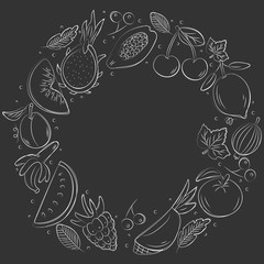 Hand drawn fruits backdround. Sketch style vector set. Illustration isolated on black background. Linear graphic. Chalk board.