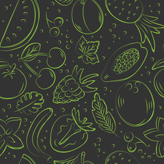 Hand drawn seamless pattern with fruits. Sketch style vector set. Illustration isolated on black background. Linear graphic. Chalk board.