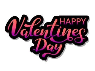 Vector illustration. Happy Valentine's Day lettering.