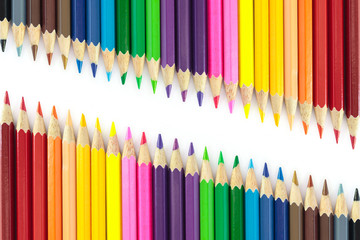 Wall Mural - Color pencils isolated on white background.
