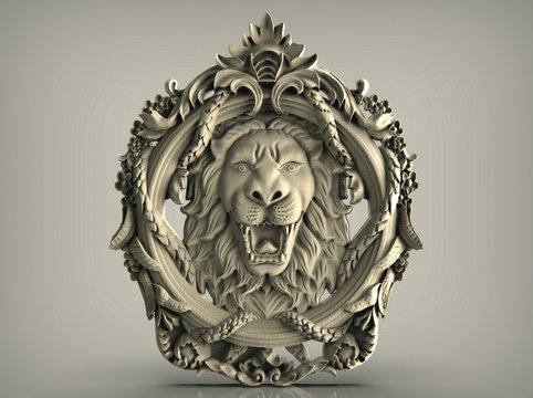 lion head knocker on wooden door