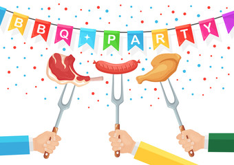 Grill hot chicken ham, sausage, beef ribs, steak with fork in hand isolated on white background. Fried meat. Festival flags. Barbecue icon. BBQ picnic, family party. Cookout event . Vector flat design