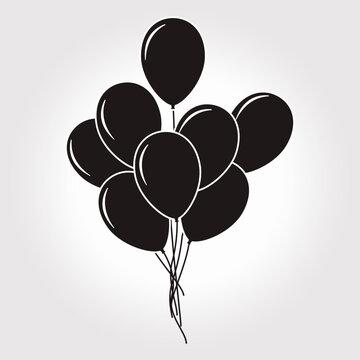 Set of flat design round vector kids black balloons.