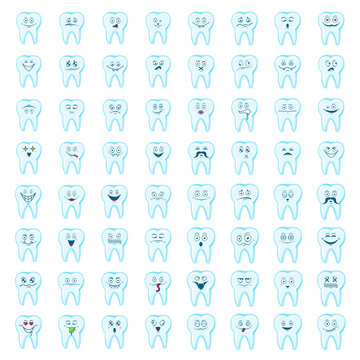 Happy teeth big set. Cute tooth characters. Dental personage vector illustration. Children dentistry.