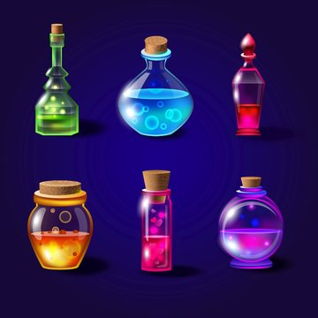 Set of realistic magical bottles with poison. Vector potion bottles set with transparent glass for game interface in fantasy style. Magical liquid potions vector illustration