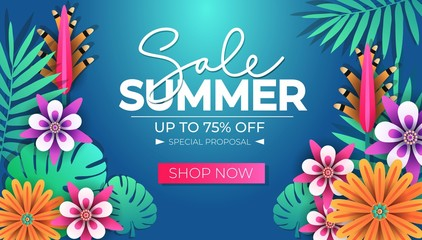 Summer sale tropical banner design template with leaves and flowers. Summer discounts. Seasonal clearance banner design. Vector illustration