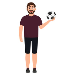 Bearded soccer player holding a soccer ball, an athlete playing football, character in cartoon style vector illustration