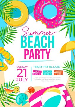 Summer beach party poster. Summer party colorful invitation. Vector summer background