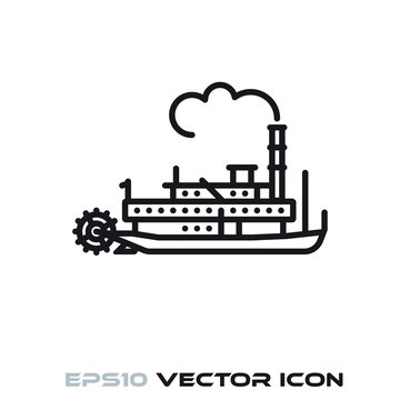 Vintage Steamboat vector line icon