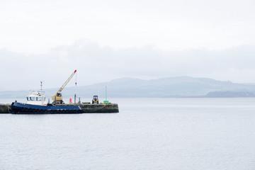 Ship Building and Crane in Port Glasgow Shipbuilding Scaffold Dock Harbor Harbour