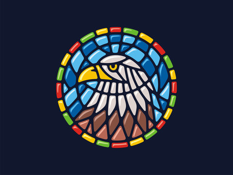 Vector mosaic. Round illustration of an eagle. Can be used for application on Souvenirs, dishes, packaging, as well as for stained glass, panels, textiles, and so on.