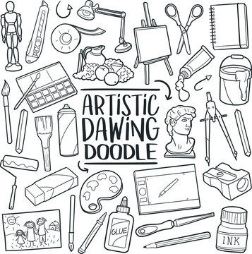 Artistic Drawing Traditional Doodle Icons Sketch Hand Made Design Vector