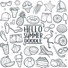 Hello Summer Vacation Traditional Doodle Icons Sketch Hand Made Design Vector