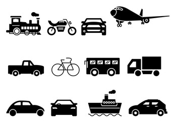 solid icons set, transportation, Airplane, Car, Truck, Bus, Train, Bicycle,Car front,Motorcycle,Pickup truck,Boat,vector illustrations