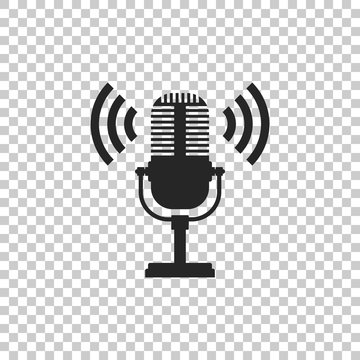 Microphone icon isolated on transparent background. On air radio mic microphone. Speaker sign. Flat design. Vector Illustration