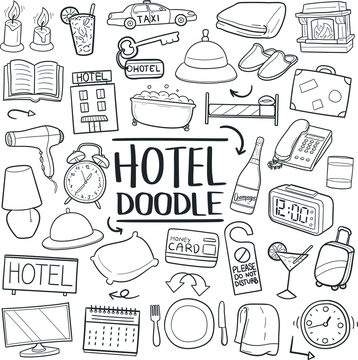 Hotel Motel Appartment Traditional Doodle Icons Sketch Hand Made Design Vector