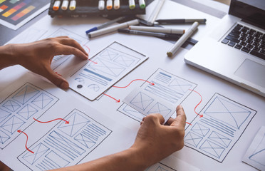 ux Graphic designer creative  sketch planning application process development prototype wireframe for web mobile phone . User experience concept. Fototapete