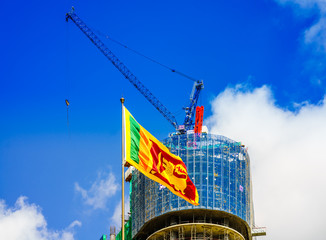 View on cityscape of Colombo with flag of Sri Lanka