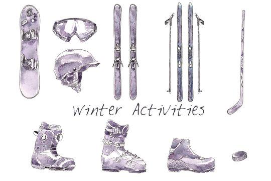 Winter Activities Watercolor Set. Skiing, Hockey, Snowboarding