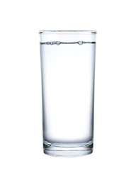 Water in glass isolated on white background.