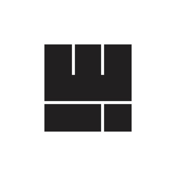 abstract letter wi simple square logo vector