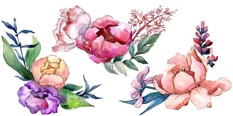 Peony bouquets floral botanical flower. Watercolor background set. Isolated bouquet illustration element.