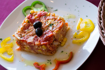 Timbale dish – served with vegetables