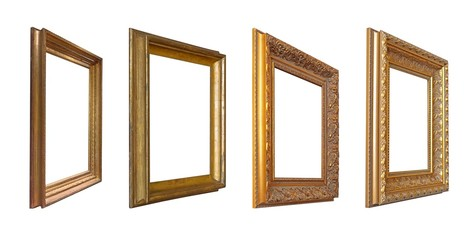 Set of golden frames for paintings, mirrors or photo in perspective view isolated on white background