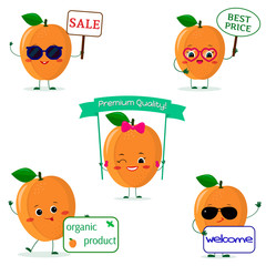 A set of five ripe apricot Smiley in cartoon style. With different plates and glasses. Logo, template, design. Flat, Vector illustration