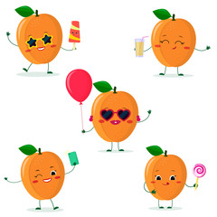 A set of five ripe apricot Smiley in cartoon style. In glasses with ice cream, with a balloon, with a lollipop, with juice, with a selfie phone. Flat, Vector illustration