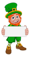 A Leprechaun St Patricks Day Irish cartoon character peeking holding a banner or sign