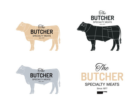 Butcher Speciality Meats shop logotype or sign. With chart of cuts of bull Angus. Vintage style.
