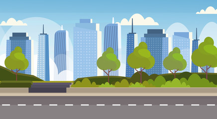 Wall Murals Pool asphalt highway road over city panorama high skyscrapers cityscape background skyline flat horizontal banner