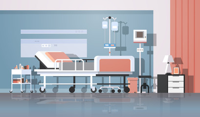 modern hospital room interior intensive therapy patient ward nursing care bed on wheels clinic furniture horizontal