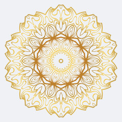 Modern Decorative Floral Mandala. Decorative Cicle Ornament. Floral Design. Vector Illustration. Can Be Used For Textile, Greeting Card, Coloring Book, Phone Case Print. Gold color