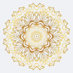 Vector Round Abstract Mandala Style Decorative Element. Hand-Drawn Vector Illustration. Can Be Used For Textile, Greeting Card, Coloring Book, Phone Case Print. Gold color