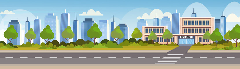 school building exterior road crosswalk back to school concept cityscape background flat horizontal banner