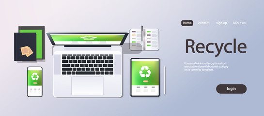 mobile computer recycle application recycling concept top angle view desktop laptop smartphone tablet screen organizer office stuff horizontal copy space