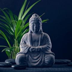 Boeddhabeeld en stenen